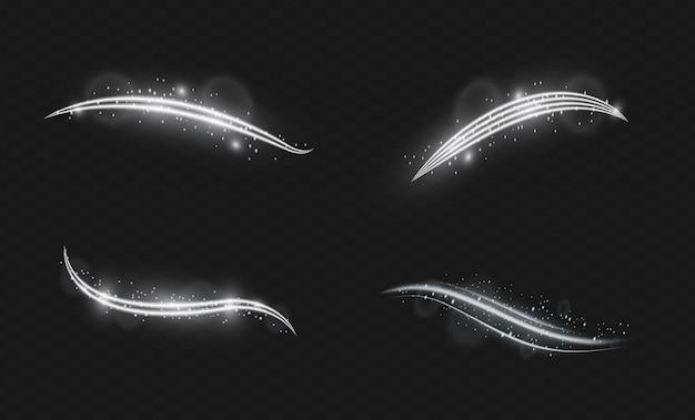 Set di lenti speciali per la luce del sole con effetto luce flash vettoriale trasparente lampi e riflessi dorati brillanti