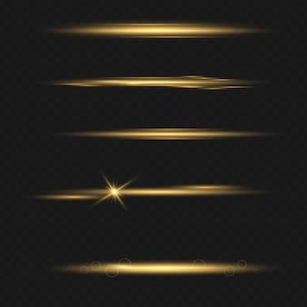 Set di effetto luce flash trasparente vettoriale, lente speciale per la luce solare. bagliori e riflessi dorati luminosi