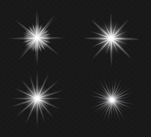 Set di effetto luce flash trasparente vettoriale, lente speciale per la luce solare.