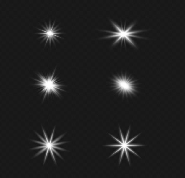 Set di effetto luce flash trasparente vettoriale, lente speciale per la luce solare