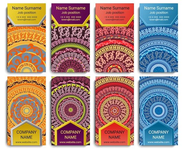 Set di biglietto da visita vettoriale con mandala. reticolo geometrico della mandala e ornamenti. prima pagina e retro pagina.