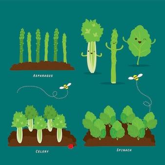 Set di orto. alimento biologico e sano illustrazione del fumetto.