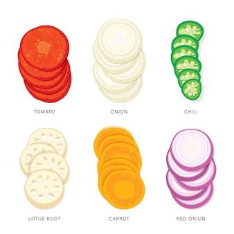 Set di fette di verdure. illustrazione dell'elemento isolata alimento organico e sano.