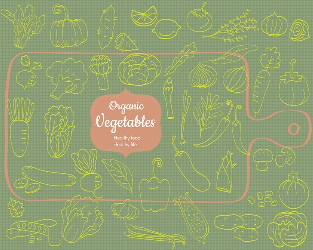 Set di scarabocchi di verdure