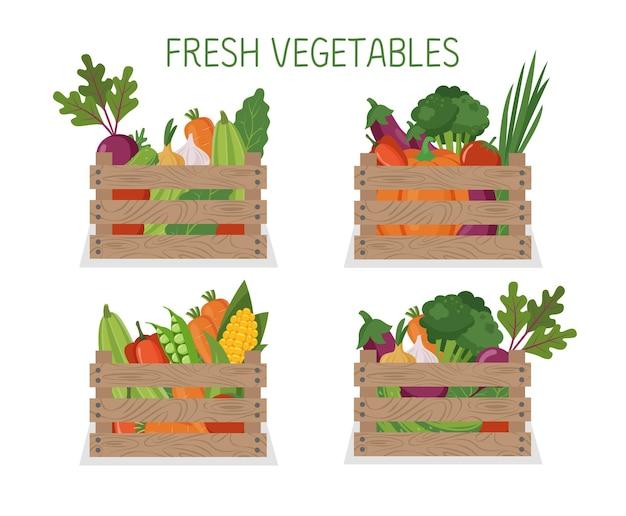 Insieme delle verdure in una scatola di legno isolata su fondo bianco illustrazione dell'alimento biologico