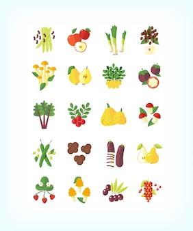 Set di alimenti biologici vegetariani. set di icone di frutta e verdura. Vettore Premium