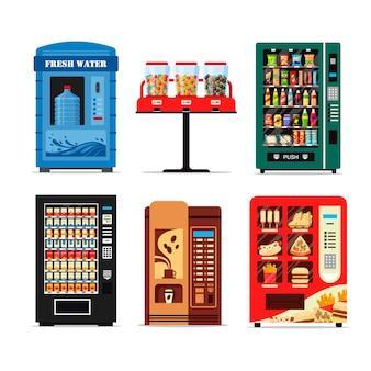 Impostare distributori automatici pieni di prodotti, collezione di distributori isolati su sfondo bianco. vista frontale del distributore automatico.