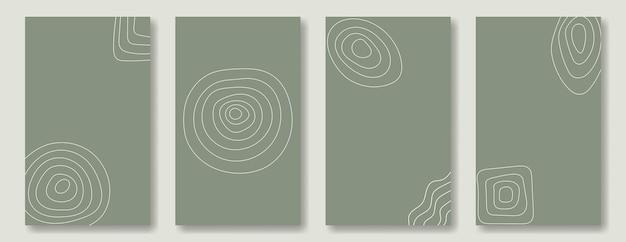 Set di sfondi astratti verticali per social media e post. cerchi e quadrati da linee disegnate a mano in stile scarabocchio su uno sfondo verde.