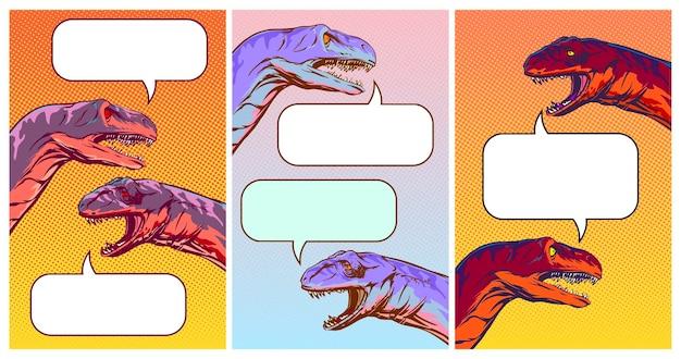Set di sfondi verticali con dinosauri parlanti in stile fumetto, illustrazione divertente del dialogo sui social media. clipart vettoriali