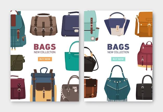 Set di modelli di banner verticali con eleganti borse, zaini e borsette