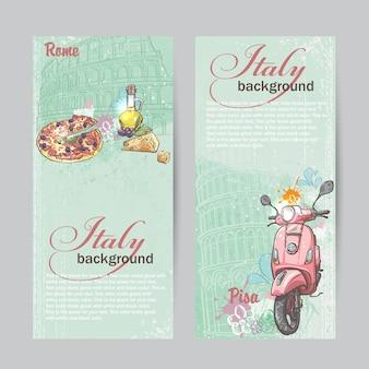 Set di banner verticali d'italia. città di roma e pisa con l'immagine di un ciclomotore rosa, pizza, formaggio e lattine di olio