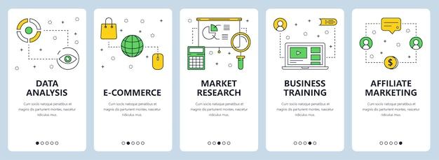 Set di banner verticali con analisi dei dati