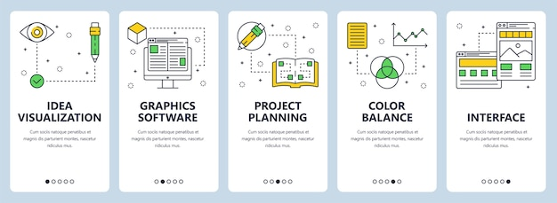 Set di banner verticali con visualizzazione dell'idea, software di grafica, processo creativo, pianificazione del progetto, bilanciamento del colore, modelli di siti web di interfaccia.