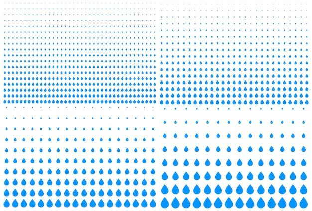 Set di punti di gocciolamento di mezzitoni sfumati verticali blu sullo sfondo mezzitoni d'acqua gocce texture vector