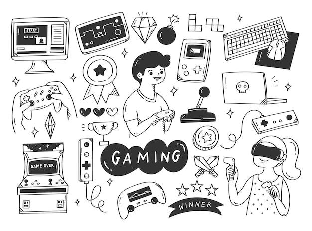 Set di illustrazione di doodle di videogiochi
