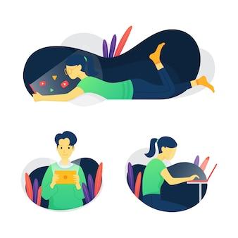 Set di illustrazione di streaming video