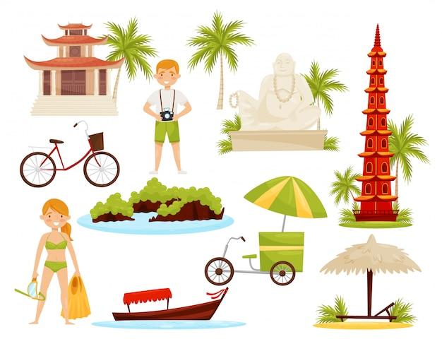 Insieme di oggetti culturali vietnamiti. monumenti famosi e monumenti storici, turisti e trasporti