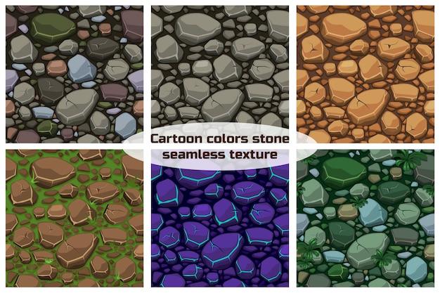 Set visualizza pietre di colori texture di sfondo senza soluzione di continuità