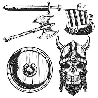 Set di elementi vichinghi per creare badge, loghi, etichette, poster, ecc