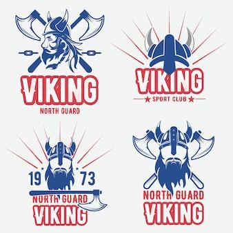 Set di emblemi, etichette e loghi vichinghi.