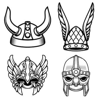Set di caschi vichinghi su sfondo bianco. elemento per logo, etichetta, segno. immagine
