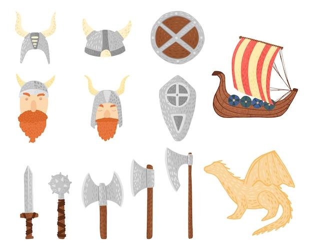 Impostare i vichinghi in casco su sfondo bianco. cartone animato carino vichinghi, drago, scudo, spada, armatura, ascia, drakkar in doodle.