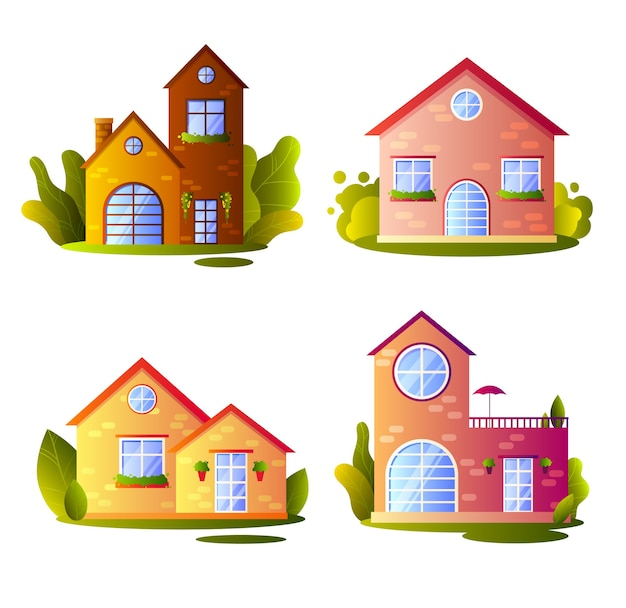 Insieme di case di villaggio in stile cartone animato