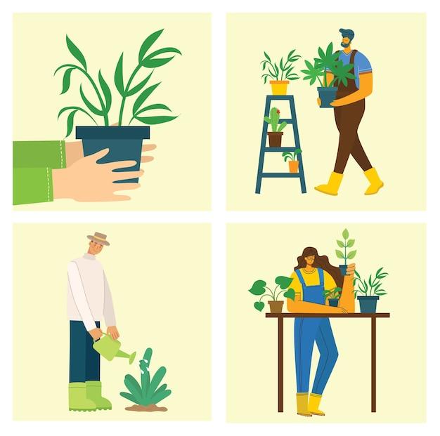 Insieme di persone del villaggio con fiori e piante organici nel design piatto