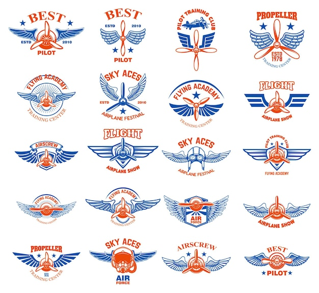 Set di emblemi di aeroplano d'epoca. elementi di design per logo, etichetta, segno, menu.