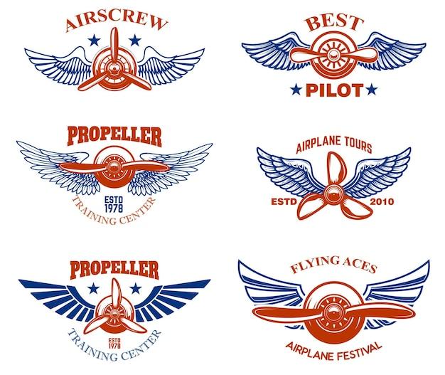 Set di emblemi di spettacolo aereo d'epoca.