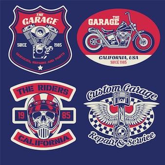 Set di badge vintage con moto