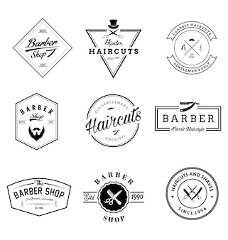 Set di distintivi vintage barber shop