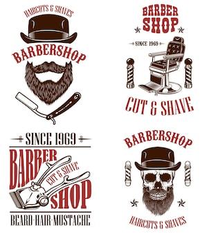 Set di emblemi del negozio di barbiere vintage
