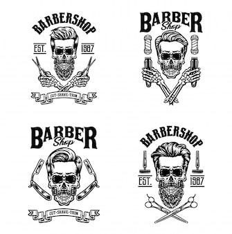 Set di teschio vintage barbiere, isolato