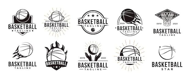 Insieme del logo della lega del club della squadra di sport di pallacanestro dell'annata con il concetto di attrezzatura del cestino