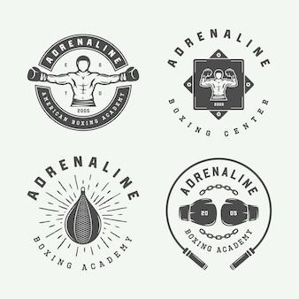 Set di distintivi con logo vintage per boxe e arti marziali