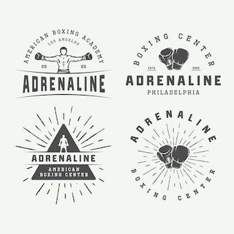 Set di boxe vintage e logo di arti marziali