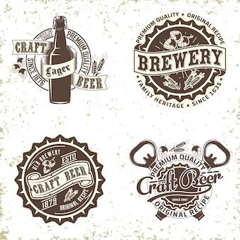 Set di design del logo vintage brewery, timbro di stampa grange, emblema di tipografia di birra artigianale, design creativo grafico t-shirt