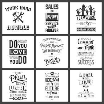 Set di citazioni tipografiche di motivazione aziendale vintage