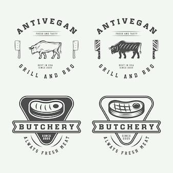 Set di bistecca di carne da macelleria vintage o loghi per barbecue emblemi distintivi etichette graphic art