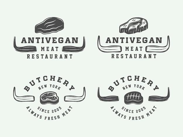 Set di bistecca di carne da macelleria vintage o loghi per barbecue emblemi distintivi etichette di arte grafica monocromatica