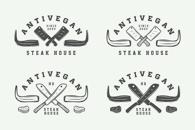 Set di etichette per distintivi con emblemi di bistecca di carne da macelleria vintage o loghi per barbecue