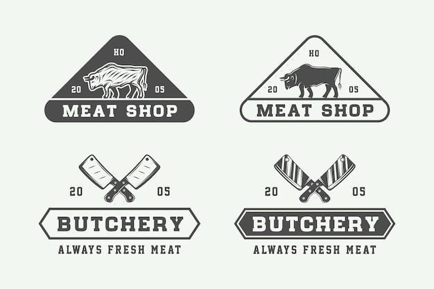 Set di bistecca di carne da macelleria vintage o loghi per barbecue
