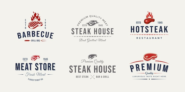 Insieme dell'illustrazione di vettore del logo del distintivo del negozio di carne di macelleria vintage design