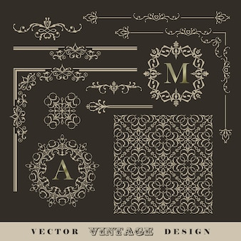 Set di angoli, bordi e cornici calligrafici vintage