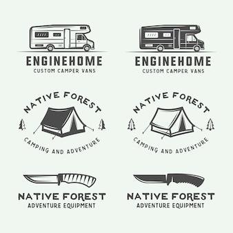 Set di distintivi per loghi vintage da campeggio all'aperto e avventura