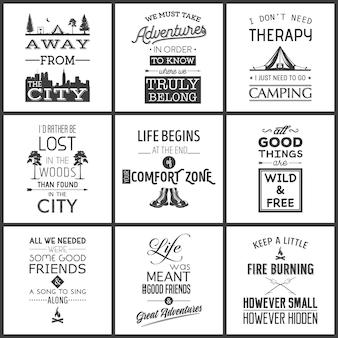 Set di poster di citazione tipografici campeggio vintage.