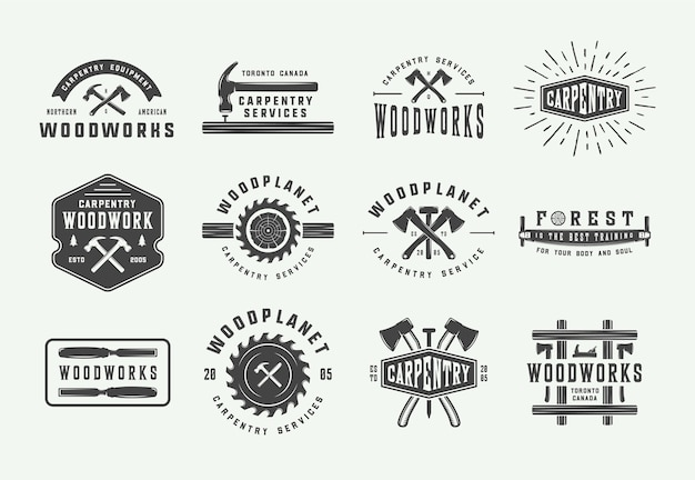 Set di falegnameria d'epoca ed etichette meccaniche