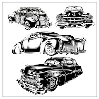 Set grafico illustrazione auto d'epoca vol 3