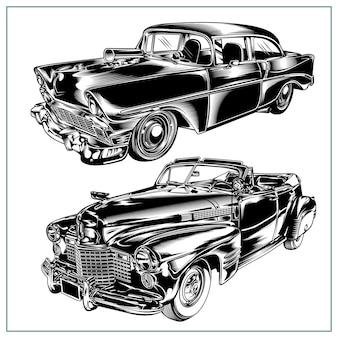 Set grafico illustrazione auto d'epoca vol 4